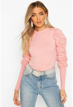 Ruched Puff Sleeve Knit Top, Pink