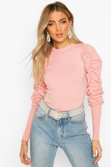 Pink Ruched Puff Sleeve Knit Top
