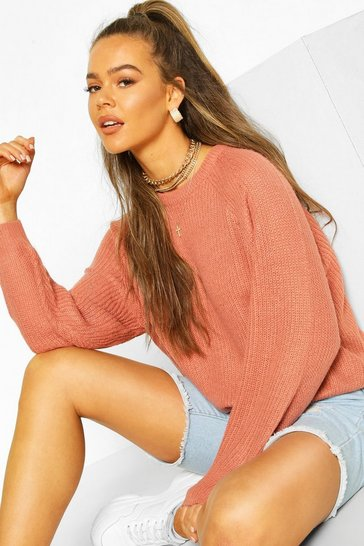 Rose Rib Knit Balloon Sleeve Jumper