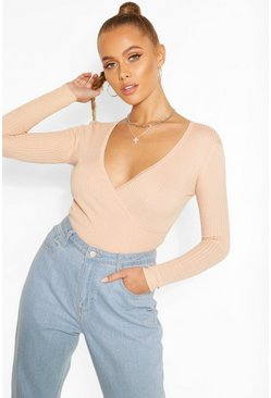 Nude Skinny Rib Wrap Long Sleeve Knitted Top