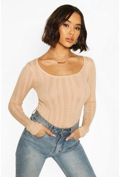 Nude Pointelle Knitted Square Neck Top