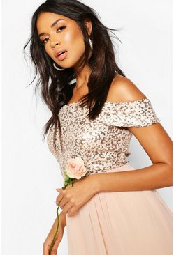 Blush Bridesmaid Occasion Sequin Off The Shoulder Maxi Dress