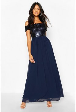 Navy Bridesmaid Occasion Sequin Off The Shoulder Maxi Dress