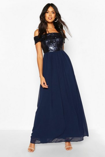 Navy Bridesmaid Occasion Sequin Bardot Maxi Dress