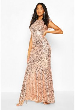 Blush Bridesmaid Occasion Extreme Sequin Low Back Maxi
