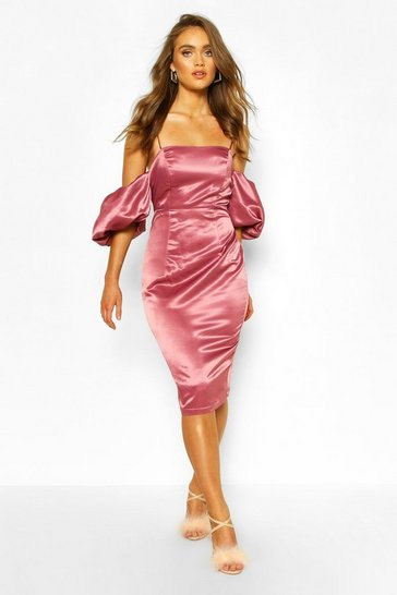 Rose Boohoo Occasion Satin Extreme Puff Sleeve Midi