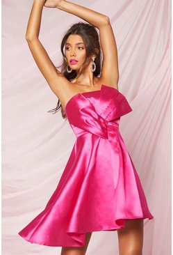 Hot pink Boohoo Occasion Pleat Mesh Skater Dress