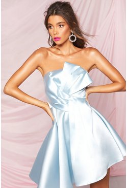 Pastel blue Boohoo Occasion Pleat Mesh Skater Dress