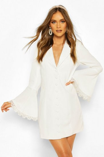 Ivory Boohoo Occasion Lace Detail Button Blazer Dress