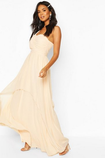 Nude Bridesmaid Occasion One Shoulder Detail Maxi Dress
