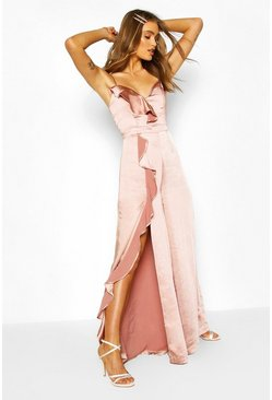 Blush Boohoo Occasion Satin Ruffle Detail Jumpsuit