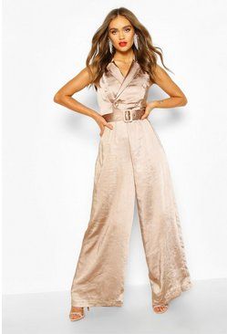 Taupe Boohoo Occasion Satin Double Breasted Jumpsuit