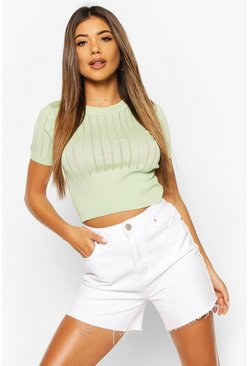 Sage Pointelle Knit Short Sleeve Top