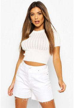 White Pointelle Knit Short Sleeve Top