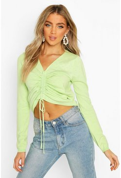 Pointelle Ruched Knit Top, Sage