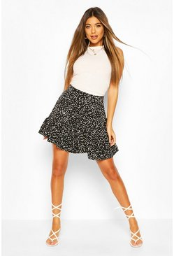 Black Polka Dot Drop Ruffle Hem Mini Skirt