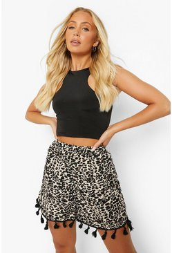 Brown Leopard Print Flippy Short