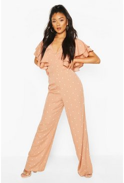 Mocha Mix Scale Polka Dot Ruffle Sleeve Jumpsuit