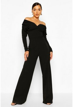 Black Bardot Ruched Sleeve Detail Wide Leg Jumpsuit