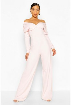 Blush Bardot Ruched Sleeve Detail Wide Leg Jumpsuit