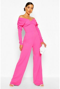 Candy pink Bardot Ruched Sleeve Detail Wide Leg Jumpsuit