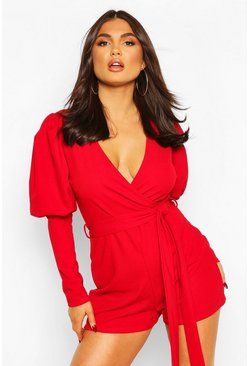 Wrap Volume Sleeve Belted Playsuit, Red