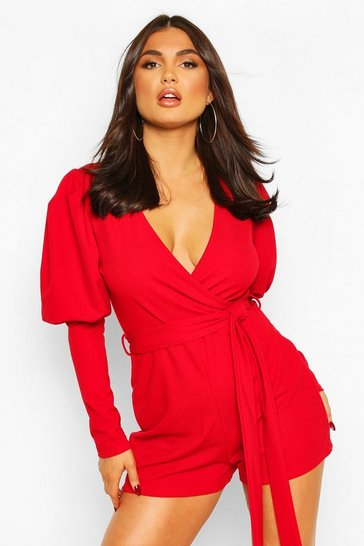 Red Wrap Volume Sleeve Belted Playsuit