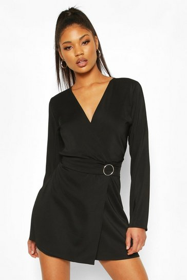 Black Wrap O-Ring Detail Blazer Playsuit