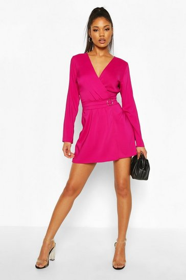 Hot pink Wrap O-Ring Detail Blazer Playsuit
