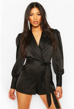 Black Wrap Tailored Satin Playsuit