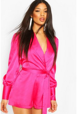 Eng anliegender Playsuit aus Satin im Wickeldesign, Rosa