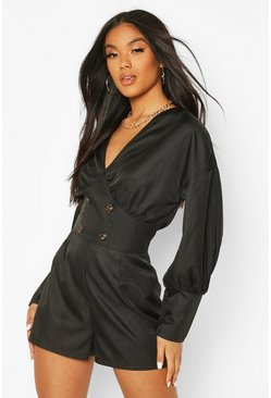 Black Volume Sleeve Button Playsuit