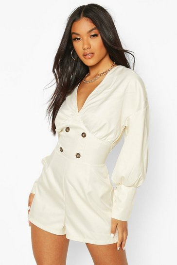 Ecru Volume Sleeve Button Playsuit