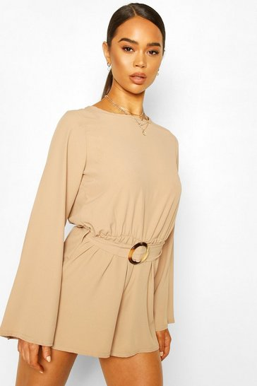 Nude Buckle Detail Oversized Sleeve Woven Playsuit
