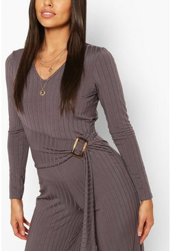 Charcoal Ribbed Belted Buckle Long Sleeve Jumpsuit