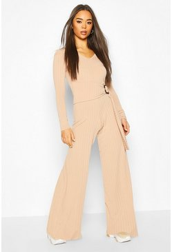 Stone Ribbed Belted Buckle Long Sleeve Jumpsuit