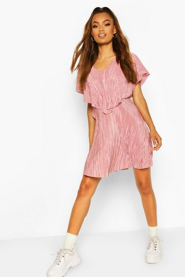 Rose Pleated Cape Detail Skater Dress