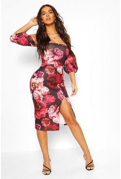 Black Rose Print Puff Sleeve Square Neck Midi Dress