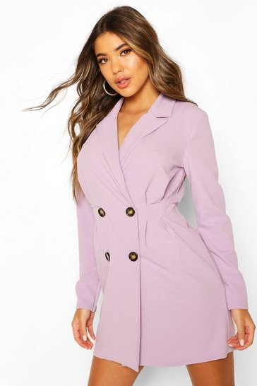 Lilac Double Breasted Pleated Waist Blazer Dress