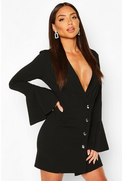 Black Flared Sleeve Blazer Dress