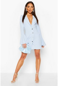 Sky Flared Sleeve Blazer Dress