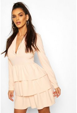Blush Tiered Ruffle Blazer Dress