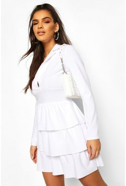 White Tiered Ruffle Blazer Dress