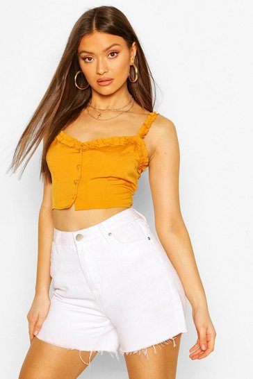 Mustard Ruffle Strap Button Detail Crop Top