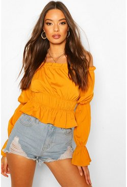Mustard Off The Shoulder Puff Sleeve Top