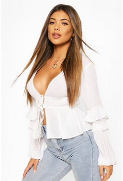 White Cheesecloth Tie Front Tassel Sleeve Blouse