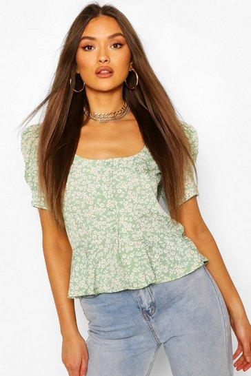 Sage Ditsy Floral Peplum Puff Sleeve Blouse