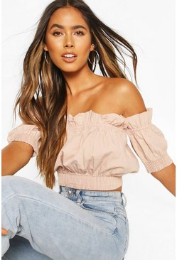Sand Cotton Shirred Off The Shoulder Crop Top