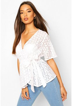 White Broderie Wrap Kimono Sleeve Belted Top