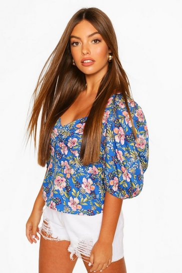 Blue Floral Puff Sleeve Button Detail Blouse